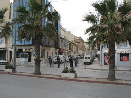Polizeiabsperrung in Sliema