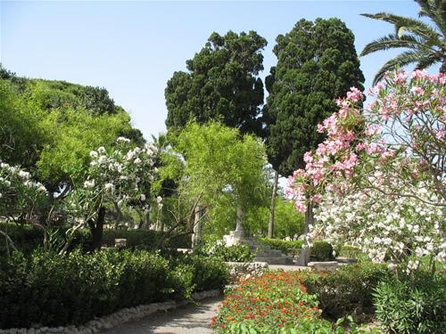 Ein Garten vor der ehemaligen Hauptstadt von Malta.