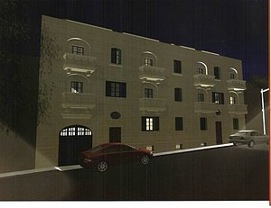 Wohngebäude bei Nacht